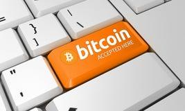 Teclado de Bitcoin Sinal de Bitcoin 3d rendem fotos de stock