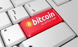 Teclado de Bitcoin Sinal de Bitcoin 3d rendem imagens de stock royalty free