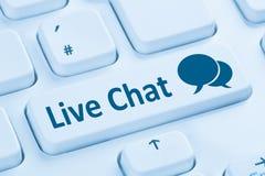 Teclado de computador azul do serviço de comunicação do contato de Live Chat imagem de stock royalty free