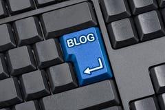 Teclado de computador chave do blogue Imagens de Stock