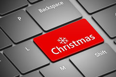 Teclado de computador com botão do Natal Foto de Stock Royalty Free