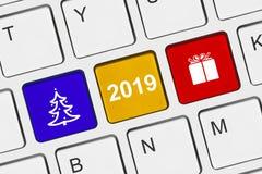 Teclado de computador com chaves do ano novo imagens de stock royalty free