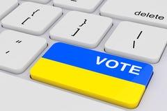 Teclado de computador com o botão do voto como a bandeira de Ucrânia rendição 3d imagem de stock royalty free