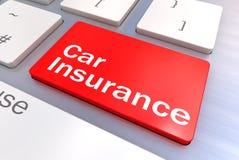 Teclado de computador com um conceito do botão do seguro de carro Imagens de Stock