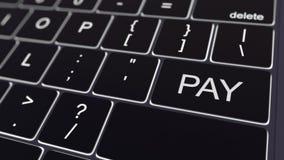 Teclado de computador preto e chave de incandescência do pagamento Rendição 3d conceptual Imagens de Stock