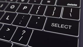 Teclado de computador preto e chave seleta de incandescência Rendição 3d conceptual Fotografia de Stock