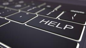 Teclado de computador preto moderno e chave de ajuda luminosa rendição 3d Imagem de Stock Royalty Free