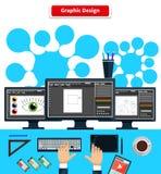 Teclado de la tableta del monitor del diseño gráfico del espacio de trabajo Imagen de archivo libre de regalías