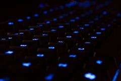 Teclado de néon azul imagens de stock royalty free