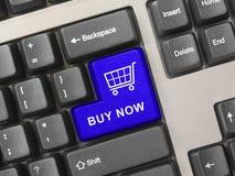 Teclado de ordenador con clave de las compras Imagen de archivo libre de regalías