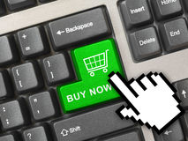 Teclado de ordenador con clave de las compras Imágenes de archivo libres de regalías