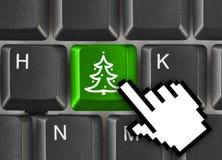 Teclado de ordenador con clave del árbol de navidad Imagen de archivo