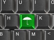 Teclado de ordenador con clave del paraguas Imagenes de archivo
