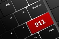 Teclado de ordenador con la emergencia número 911 Fotografía de archivo libre de regalías