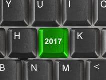 Teclado de ordenador con la llave 2017 Imágenes de archivo libres de regalías
