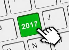 Teclado de ordenador con la llave 2017 Imagen de archivo libre de regalías