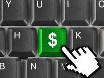 Teclado de ordenador con llave del dinero Imagenes de archivo