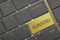 Teclado de ordenador con pares de la moneda: EUR/usd de botón Foto de archivo libre de regalías