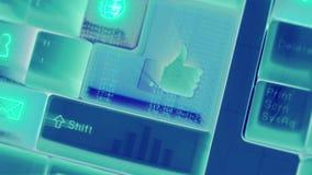 Teclado de ordenador de la iluminación de la animación con la medios muestra y símbolo sociales del icono en fondo de la telecomu ilustración del vector