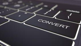 Teclado de ordenador negro moderno y llave luminosa del convertido representación 3d Imagen de archivo libre de regalías