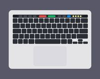 Teclado de ordenador portátil moderno con llaves, el panel táctil y el panel táctil de teclado en blanco del bkack Imagen de archivo libre de regalías
