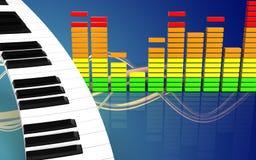 teclado de piano audio do espectro 3d ilustração stock