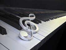 Teclado de piano com G-clef Imagens de Stock Royalty Free