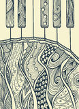 Teclado de piano con negro del ornamento del Zen-enredo en blanco ilustración del vector