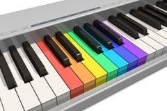 Teclado de piano del arco iris Imagen de archivo libre de regalías