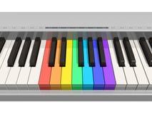 Teclado de piano del arco iris Foto de archivo libre de regalías