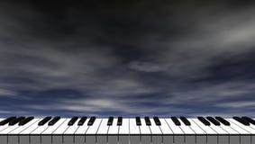 Teclado de piano delante del cielo azul marino libre illustration