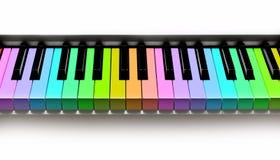 Teclado de piano do arco-íris Foto de Stock Royalty Free