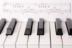 Teclado de piano do close-up A partitura no fundo é direitos reservados livres Fotos de Stock Royalty Free
