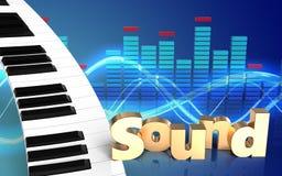 teclado de piano do espectro 3d Imagens de Stock
