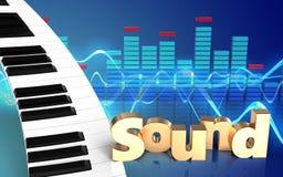 teclado de piano do sinal 'do som 3d' Imagens de Stock Royalty Free