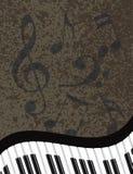 Teclado de piano ondulado com ilustração das notas musicais Fotografia de Stock