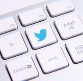 Teclado de Twitter Fotos de archivo libres de regalías