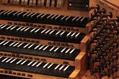 Teclado del órgano de tubo Foto de archivo