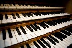 Teclado del órgano de tubo Fotografía de archivo