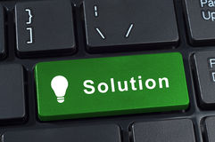 Teclado del botón de las soluciones con la bombilla del icono. Fotos de archivo libres de regalías