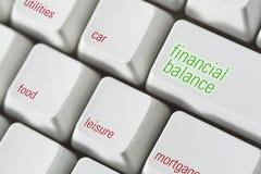 Teclado del equilibrio financiero Fotos de archivo