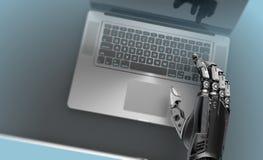 Teclado del ordenador portátil del robot que mecanografía tecnología futurista imagenes de archivo