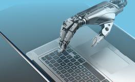 Teclado del ordenador port?til del robot que mecanograf imagen de archivo libre de regalías