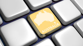 Teclado (detalle) con clave de la correspondencia de Australia Fotos de archivo