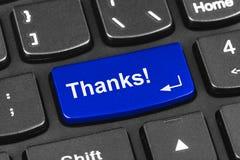 Teclado do caderno do computador com chave dos agradecimentos Imagens de Stock Royalty Free