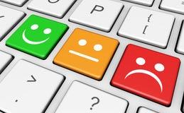 Teclado do feedback de cliente da qualidade do negócio Fotografia de Stock