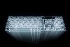 Teclado do PC no estilo de Wireframe do holograma Rendição 3D agradável Foto de Stock
