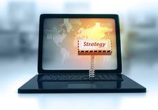Teclado do portátil com estratégia chave Imagem de Stock Royalty Free