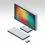 Teclado e rato isométricos do monitor do desktop Fotografia de Stock