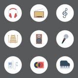 Teclado liso da oitava dos ícones, tremor, leitor de mp3 e outros elementos do vetor O grupo de símbolos lisos audio dos ícones i ilustração royalty free